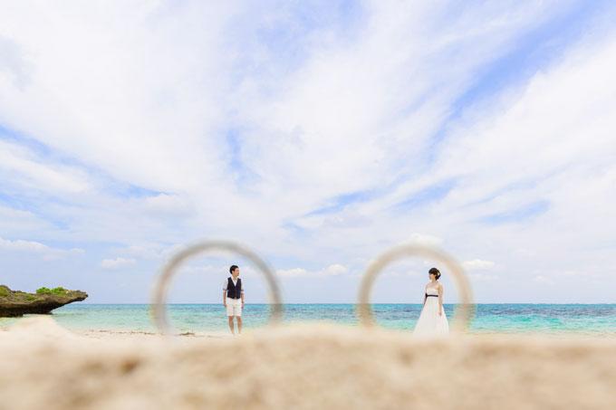 指輪の中で見つめあうふたりのフォトウェディング