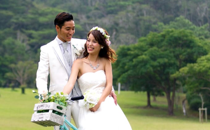 沖縄の自然の中、自転車で出発!