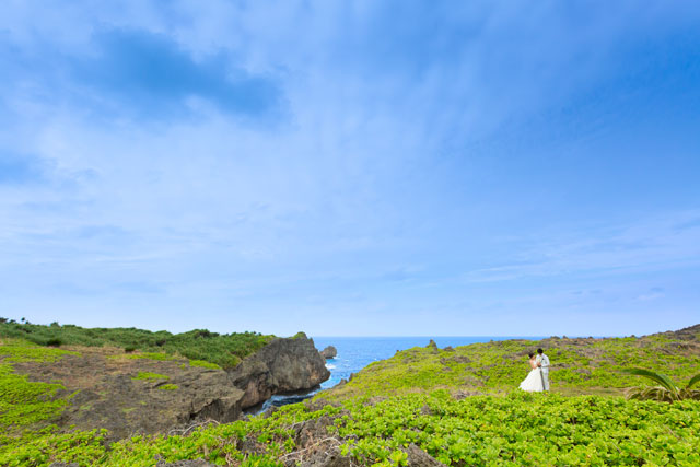 広大な海と空、野原を贅沢に使ったフォトウェディング