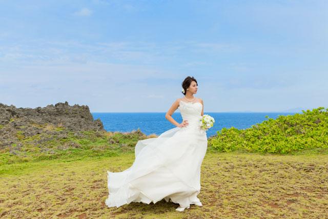 ドレス姿の背景には青い海が広がる