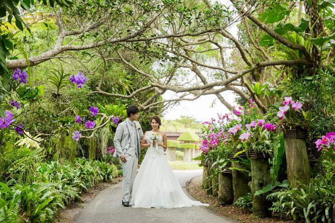 ふたりで歩く、南国色豊かな熱帯植物のトンネル