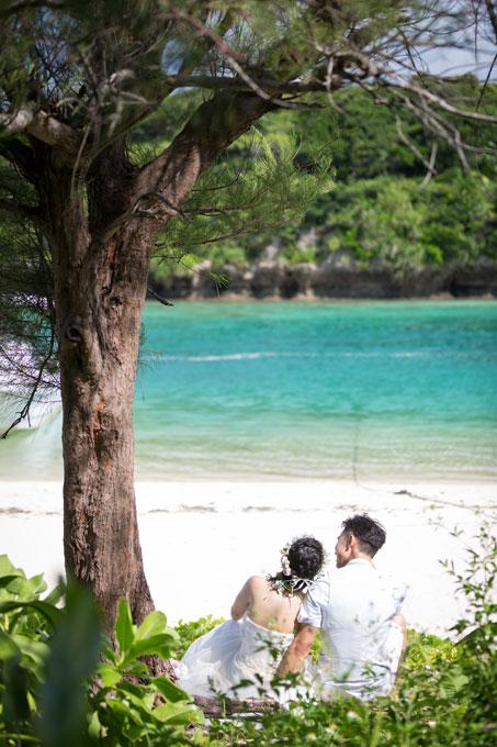木の下でくつろぐふたりを川平湾のビーチが見えるようにバックから撮影したフォトウェディング