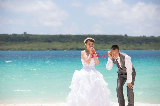 宮古島のビーチで彼に愛を伝える糸電話