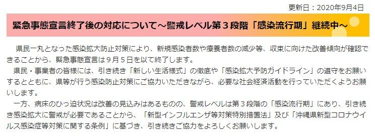 沖縄県緊急事態宣言の終了について(9/5を以って終了)